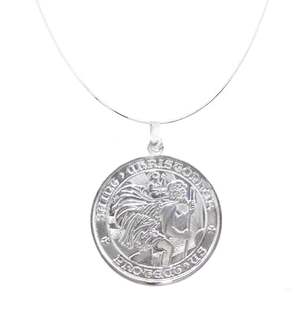 All Sterling Silver St Christopher Medal - Large