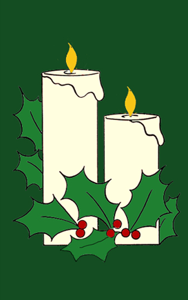 White Candles & Holly Applique House Flag on Forest
