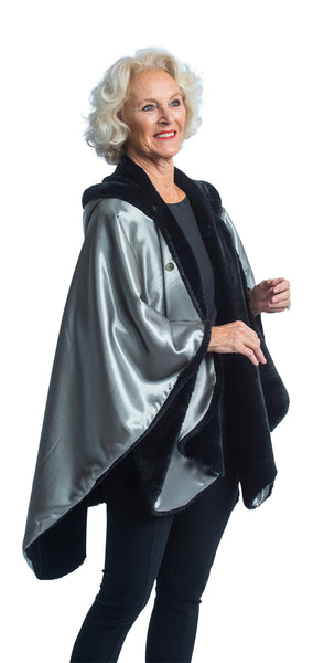 FurCaper Fur-Lined Rain Cape - Black Fur