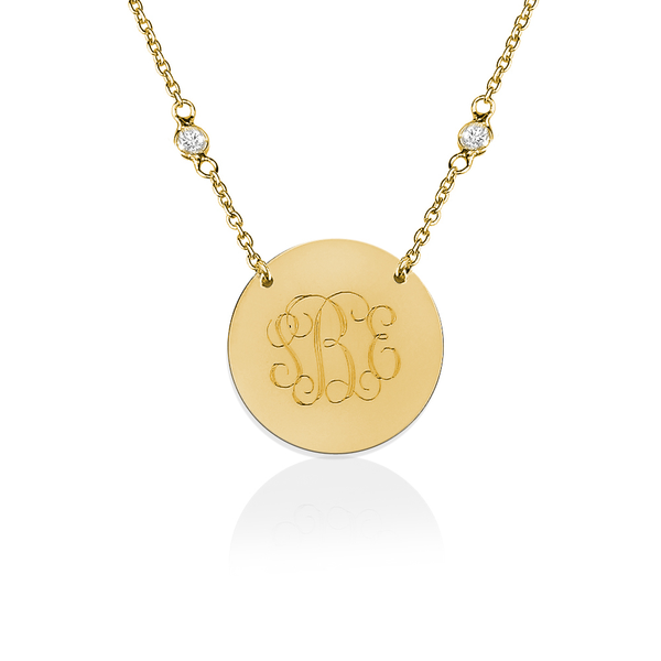 Jane Basch Disc Necklace - Gold Vermeil - FREE ENGRAVING!