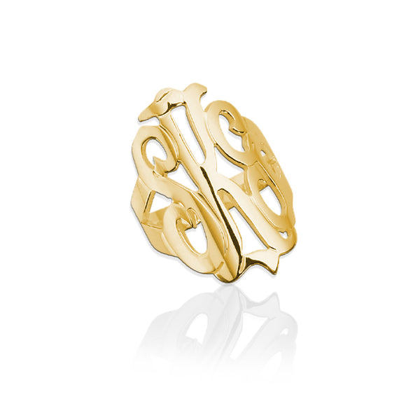 Jane Basch Designs Script Monogram Ring - Gold