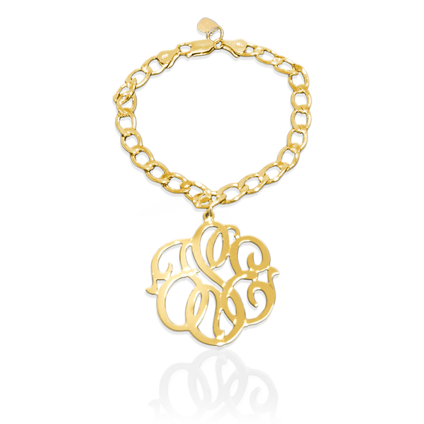 Jane Basch Charm Bracelet with Script Monogram - Gold