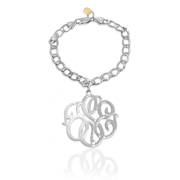 Jane Basch Charm Bracelet with Script Monogram - Sterling Silver