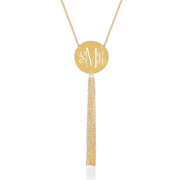 Jane Basch Pierced Monogram Disc with Tassel - Gold