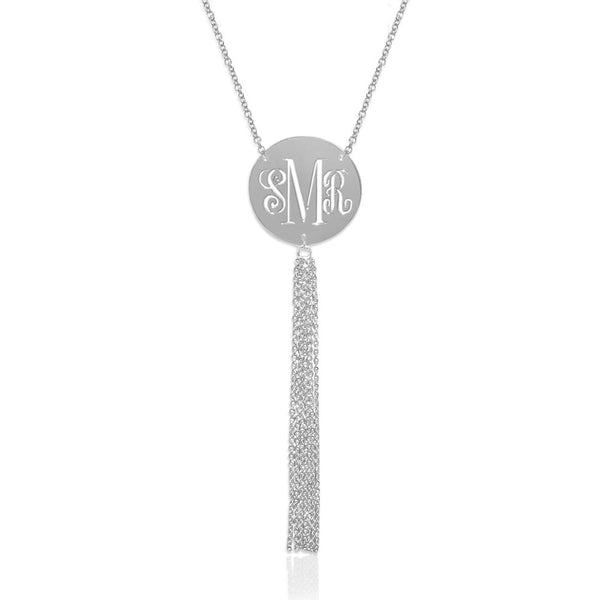 Jane Basch Pierced Monogram Disc with Tassel Necklace - Sterling Silver