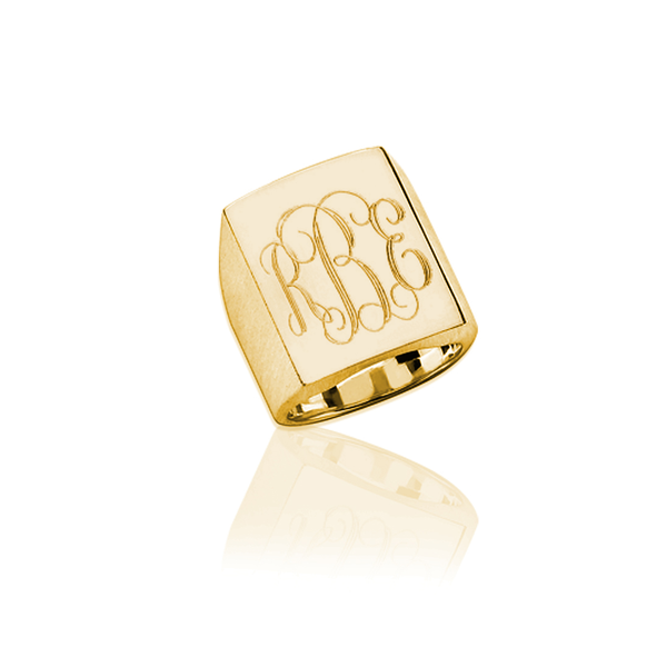 Jane Basch Designs Large Rectangle Ring GOLD - FREE Engraving
