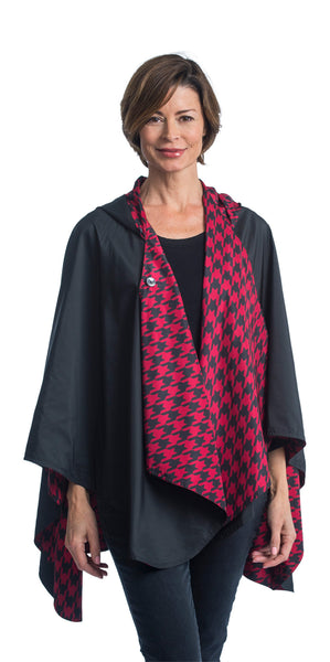 Reversible, Packable, Waterproof Rain Poncho - Black/Crimson Houndstooth