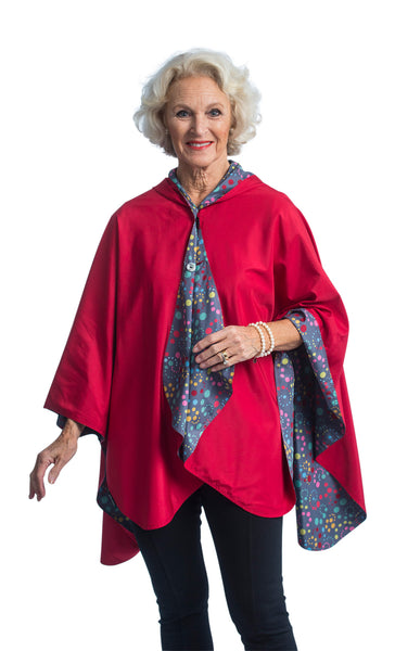 RainCaper - Reversible, Packable, Waterproof Rain Poncho - Berry/ Swirl Dots
