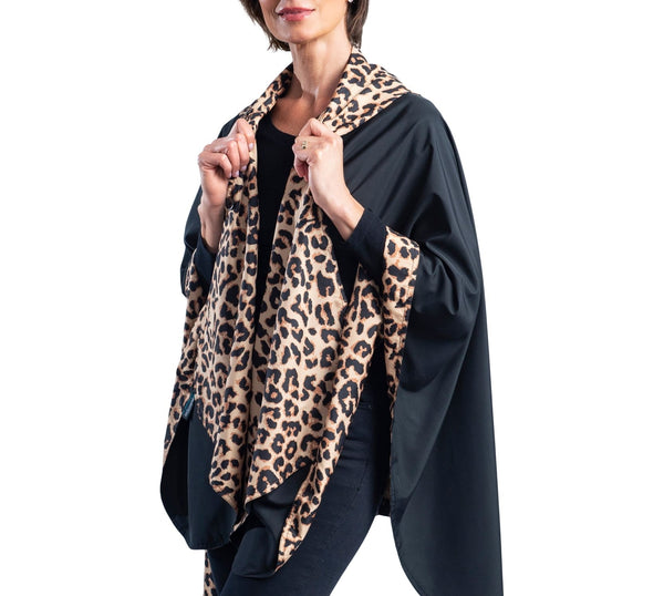 Reversible, Packable, Waterproof Rain Poncho - Black/Leopard