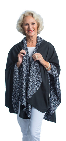 Reversible, Packable, Waterproof Rain Poncho - Black with White Tile