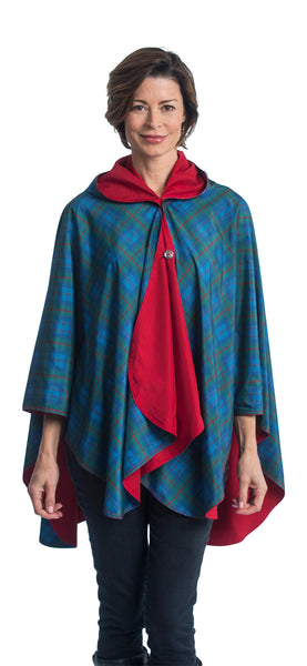 Reversible, Packable, Waterproof Rain Poncho - Berry & Tartan Design - NEW!