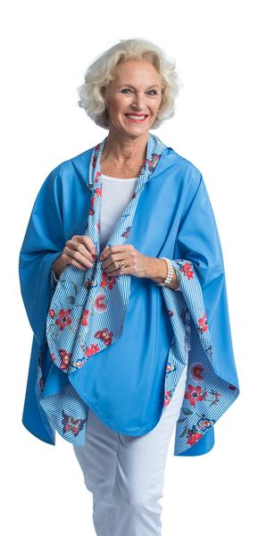RainCaper Blue Stripe with Flowers - Big Savings!