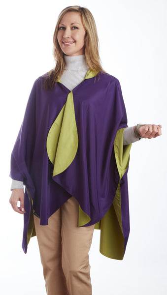 RainCaper - Reversible, Packable, Waterproof Rain Poncho - Eggplant/ Sage