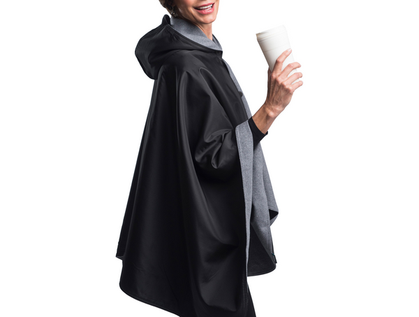 WarmCaper Reversible Rain Cape - Warm Pewter/Black Rainproof