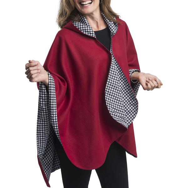 WarmCaper Reversible Rain Cape - Warm Houndstooth/Crimson Rainproof
