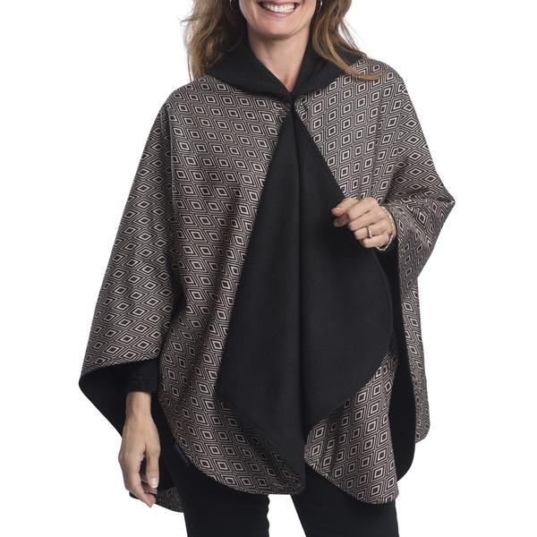 WarmCaper Reversible Rain Cape - Warm Black/Camel Diamonds Rainproof