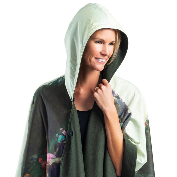 WarmCaper Reversible Rain Cape - Warm Loden Green/Degas Racehorses Rainproof