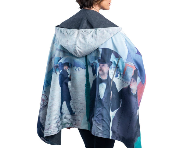 WarmCaper Reversible Rain Cape - Warm Charcoal/Paris Streets Rainproof