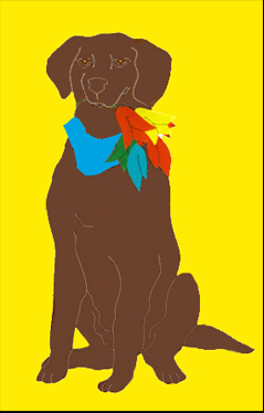 Chocolate Lab Dog with Tulips Applique House Flag on Yellow