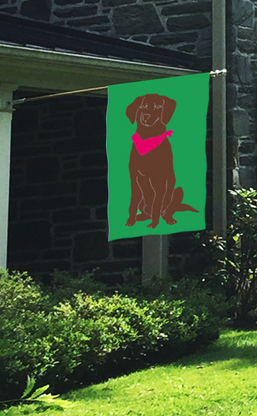 Chocolate Lab Applique Flag on Kelly Green