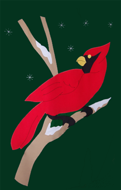 Cardinal & Snowflakes Flag on Forest
