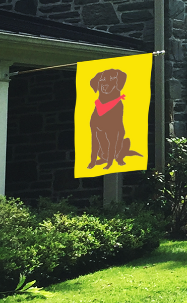 Chocolate Lab Dog Applique House Flag on Yellow