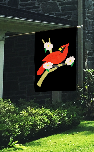 Cardinal & Dogwood Applique Flag on Black