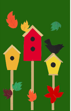 3 Birdhouses & Leaves House Flag on Forest
