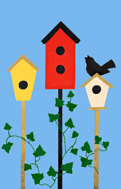 3 Birdhouses & Ivy Spring Applique House Flag on Sky Blue