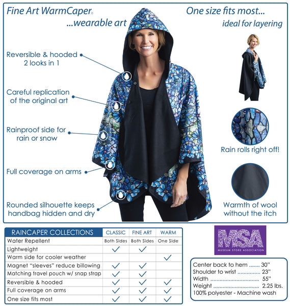 WarmCaper Reversible Rain Cape - Warm Royal/van Gogh Irises Rainproof
