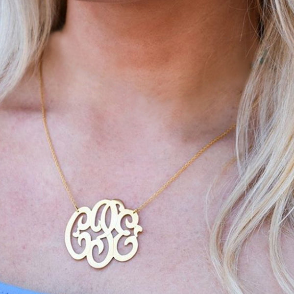 Jane Basch Designs NeoClassic Gold Monogram Necklace
