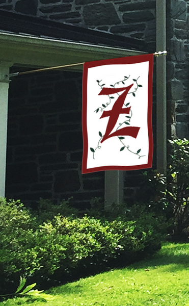 Initial Monogram 'Z' Applique House Flag