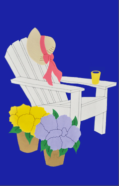 Adirondack Chair Applique Flag on Royal