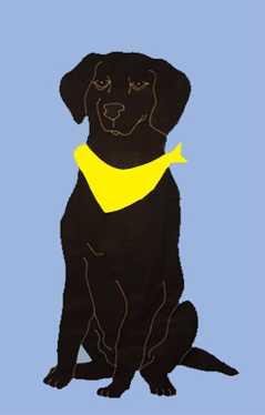 Black Lab Applique Flag on Sky Blue