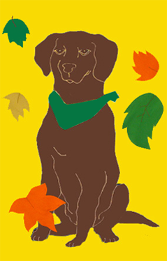 Chocolate Lab with Falling Leaves Flag on Yellow