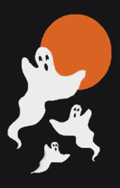 3 Ghosts & Moon Halloween Applique Flag