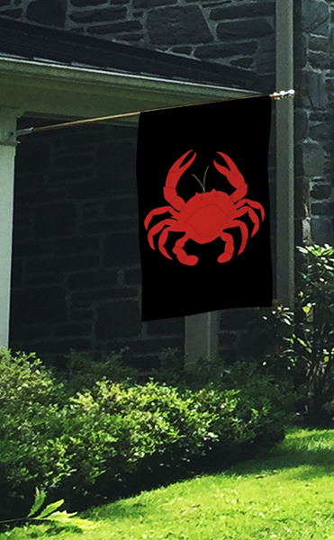 Crab Applique House Flag on Black