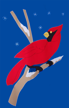 Cardinal & Snowflakes Flag on Royal