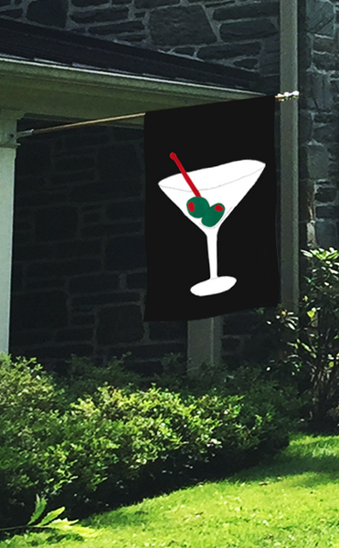 Cocktail Time Martini Applique House Flag on Black