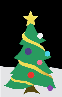 Christmas Tree Applique House Flag on Black