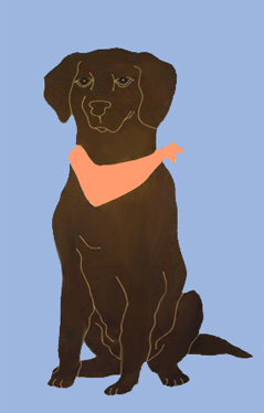 Chocolate Lab Applique Flag - French Blue
