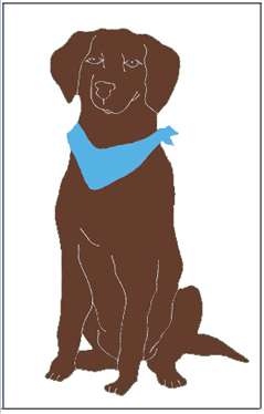 Chocolate Lab Applique Flag on Ivory
