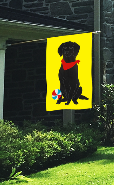 Black Lab Applique Flag with Beach Ball - Yellow