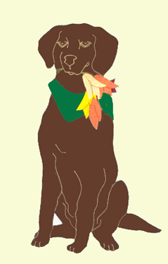 Chocolate Lab with Tulips House Flag on Ivory