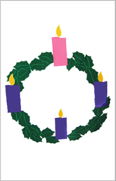 Advent Wreath Applique Flag on White
