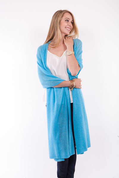 Cashmere Travel Wrap - Cruise Blue