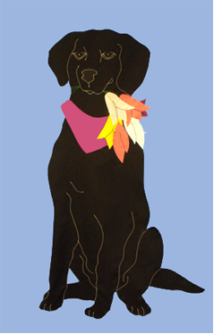 Black Lab & Tulips Applique Flag - Wedgewood