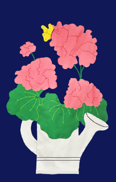 Geraniums in Watering Can Flag on Navy with Pink