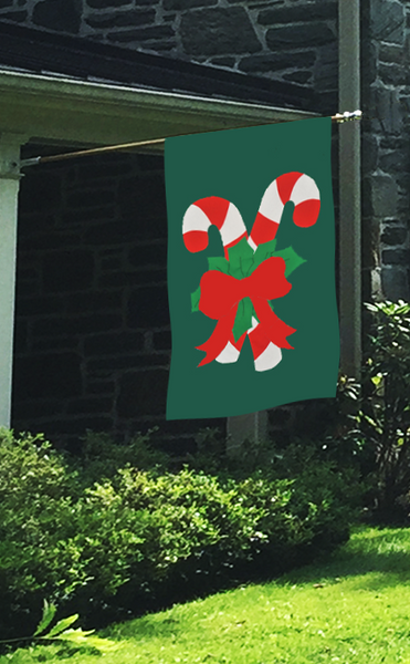 Christmas Candycane Applique House Flag on Forest