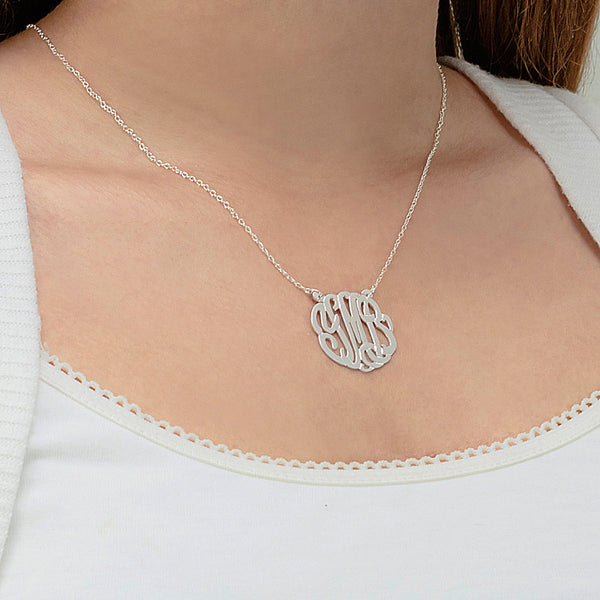 Jane Basch Sterling Silver Monogram Necklace on CZ Station Chain
